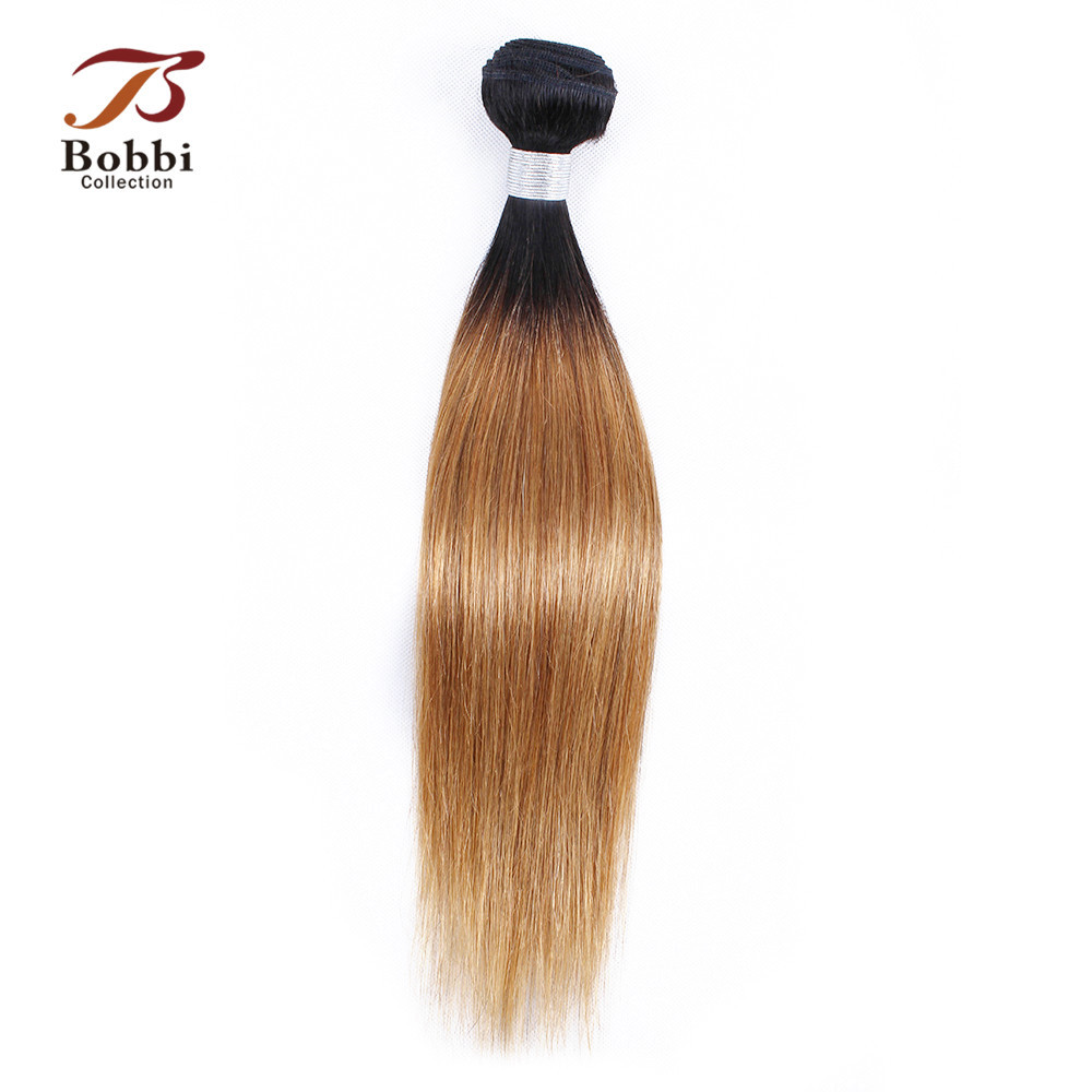 Bobbi Collection 1 Bundle T 1B 27 Ombre Honey Blonde Malaysian Straight Remy Hair Weave BundlesPre-Colored Human Hair