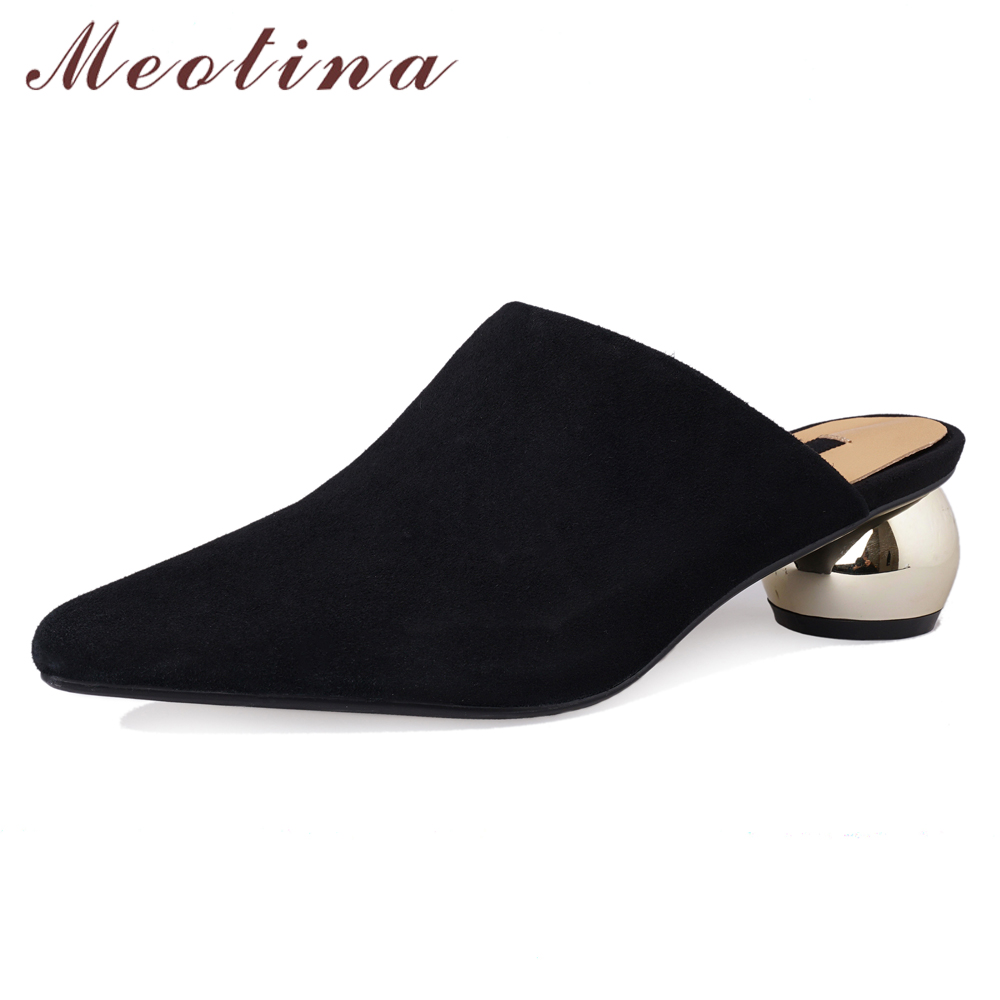 Meotina High Heels Women Mules Shoes Kid Suede Strange Style Heels Shoes Fashion Pointed Toe Slipper Lady Spring Pink Size 33-40Meotina High Heels Women Mules Shoes Kid Suede Strange Style Heels Shoes Fashion Pointed Toe Slipper Lady Spring Pink Size 33-40