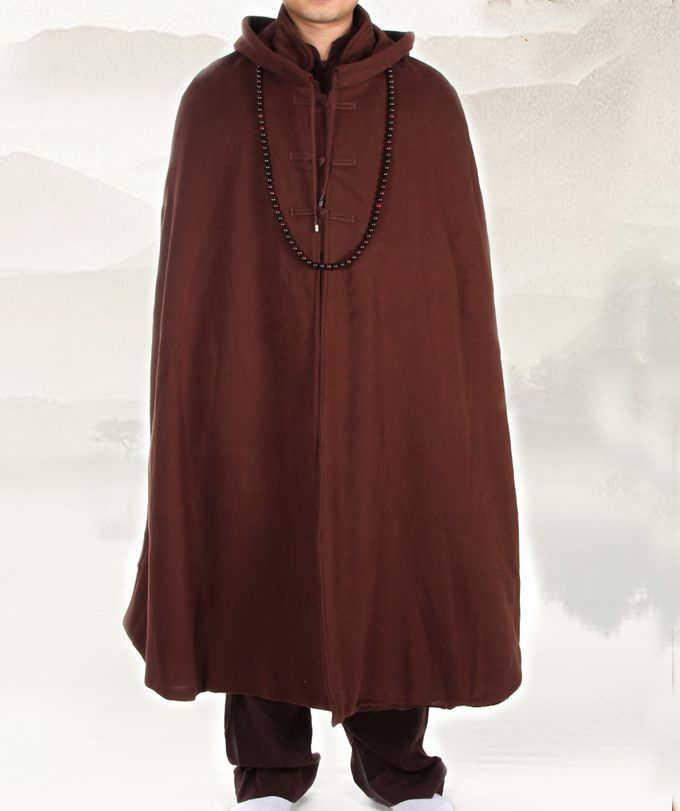 Unisex 4 colores zen meditación capa cálido traje de monje budista traje de invierno ropa abrigo artes marciales capa rojo/marrón /yellowgray
