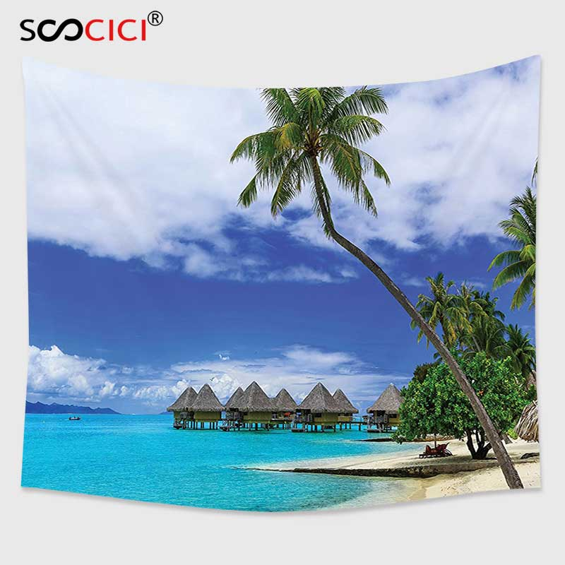 Cutom Tapestry Wall Hanging,Tropical Decor Over water Bungalows of Tropical Resort Bora Bora Island Pacific Ocean Panorama Green