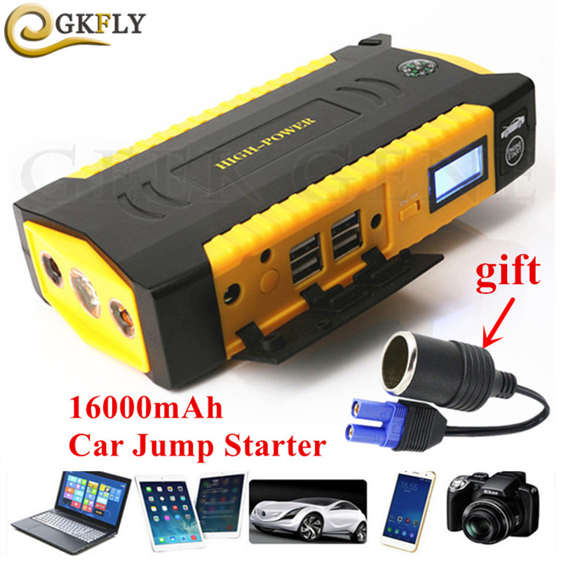 High Capacity 16000mAh Car Jump Starter 600A Portable Starting Device Booster 12V Petrol Diesel Car Charger For Car Battery LED