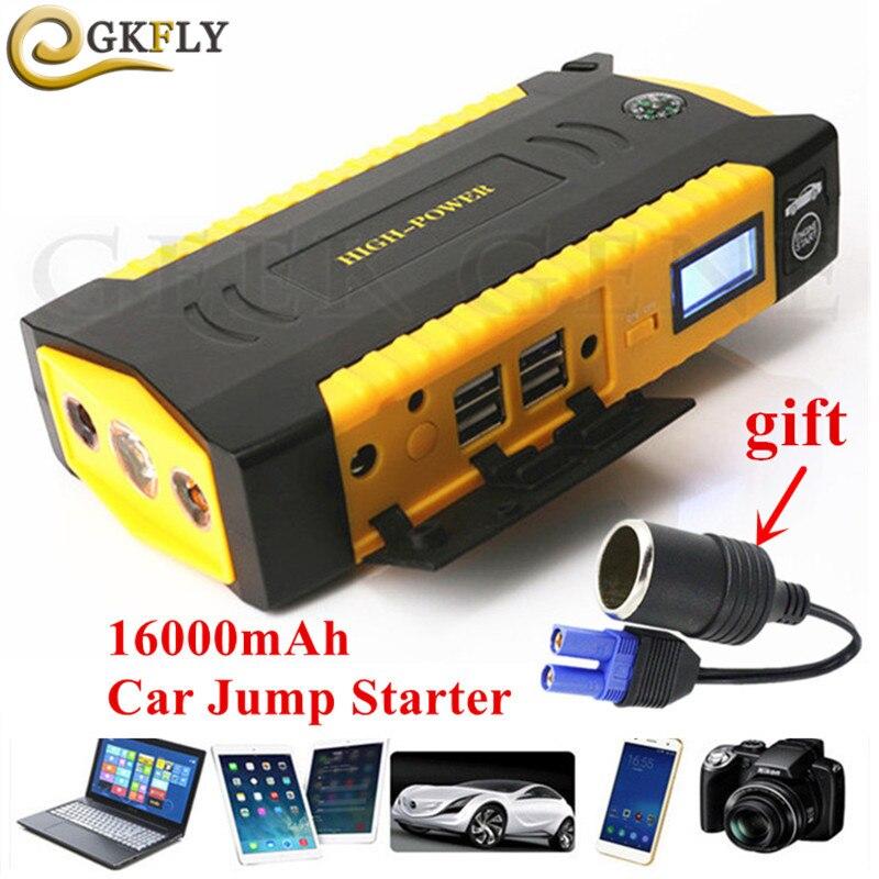 Hohe Kapazität 16000 mah Auto Starthilfe 600A Tragbare Ausgangs Gerät Booster 12 v Benzin Diesel Auto Ladegerät Für Auto batterie LED