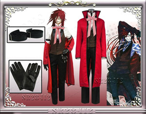 Image 4 - Anime Black Butler Death Shinigami Grell Sutcliff Cosplay Red Uniform Outfit+Glasses Carnaval Halloween Costumes for Women Men