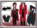 Anime Negro Mayordomo Grell Sutcliff Shinigami Cosplay Muerte Rojo Uniforme Outfit + Gafas de Carnaval Disfraces de Halloween para Las Mujeres de Los Hombres