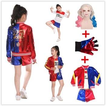 女の子子供たちの映画自殺分隊ハーレークイン衣装コスプレジョーカー自殺分隊ハロウィン Purim Tシャツトップジャケットパンツセット