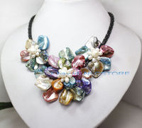 Free Shipping >>>>>pretty mix color mother of pearl shell weave flower necklace 18