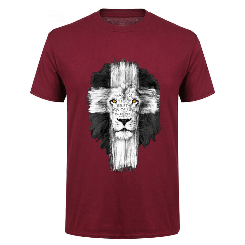 2018 Cool Design Men's Jesus Kerusso Brand Christian T-Shirt Mens Fear Not Tops Tee Shirts Boys Casual Camisetas NM98-NM116