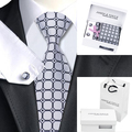 B-1147 Mens Ties Cinzento da Manta Gravata Lenço de Seda Saco Caixa de Presente Conjunto de Laços Para Homens Casamento Negócios Abotoaduras Presente Dos Homens