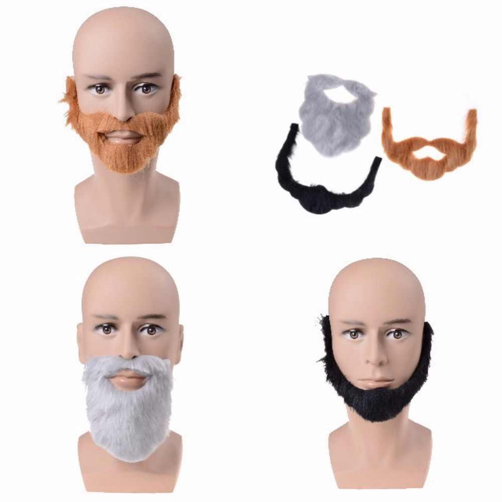 GETTO 1 Set Barba Facciale Dei Capelli Travestimento New Divertente Partito Del Costume di Halloween Baffi Decorazione Del Partito 3 Colori
