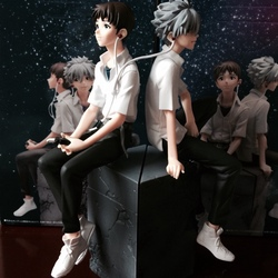 23cm Japanese anime figure  EVA Neon Genesis Evangelion Ikari Shinji & Ngisa Kaworu PVC Action Figure Set Collectible Model Toys