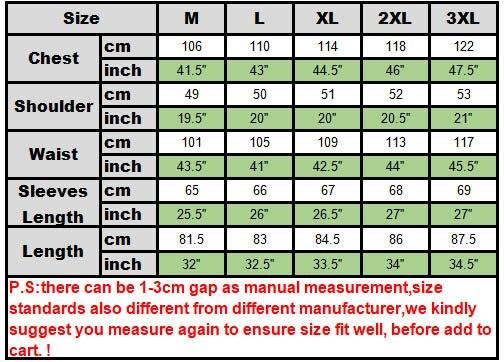 size chart Dashiki