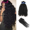 Cheap 8a Unprocessed Malaysian Virgin Hair With Closure Deep Wave Virgin Human Hair Weave Hair 3/4 Bundles With Lace Closure