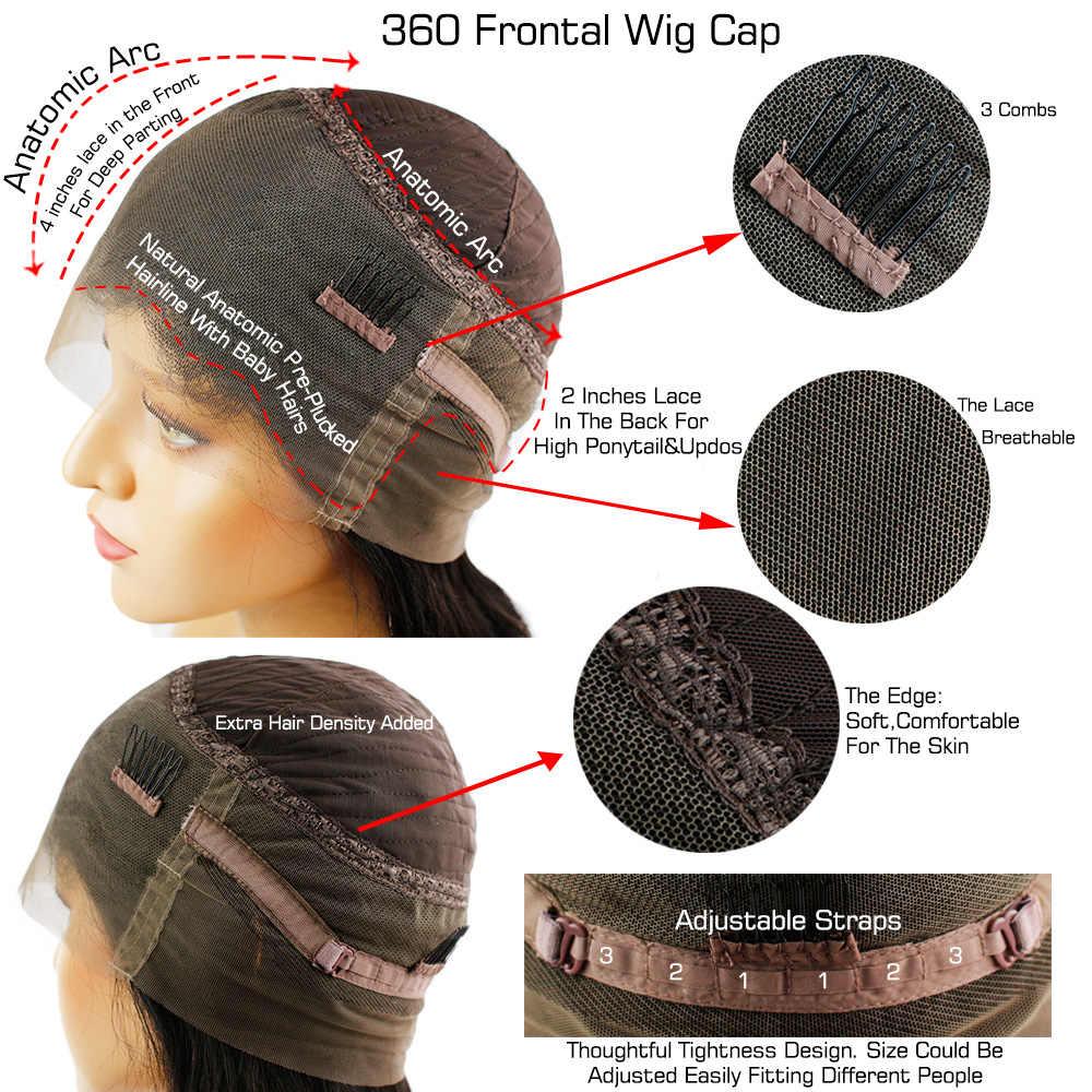 شعر مستعار الجسم موجة 360 شعر مستعار ذا مقدمة من الدانتيل شعر الإنسان قبل قطعها مع شعر الطفل حول شعر ريمي البرازيلي للنساء اللون الأسود