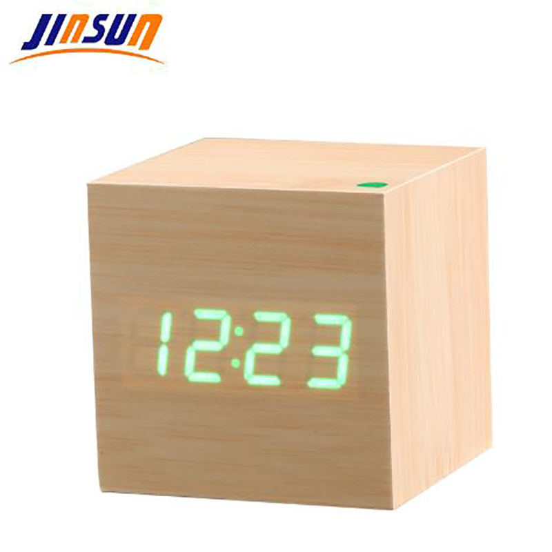 JINSUN Modern Skrivbordsklocka Sound Control Wooden Digital Väckarklocka Square Style Single Face Activated Watch Smart despertador