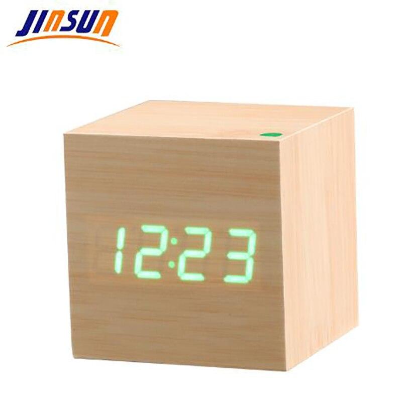 JINSUN Moderne Desktop Uhr Sound Control Holz Digitale Alarm Uhr Platz Stil Einzigen Gesicht Aktiviert Uhr Smart despertador