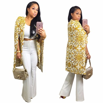 2017 New Fashion Vintage Shawl Collar Split Sleeve Print Cloak Blazer Cape Women Casual Veste Dashiki Cape Blazer Femenino
