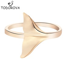 Todorova 2017 New Unique Cute Whale Tail Ring in brass Ginkgo Leaf Charm Rings for Women Party Wedding Vintage Accessories