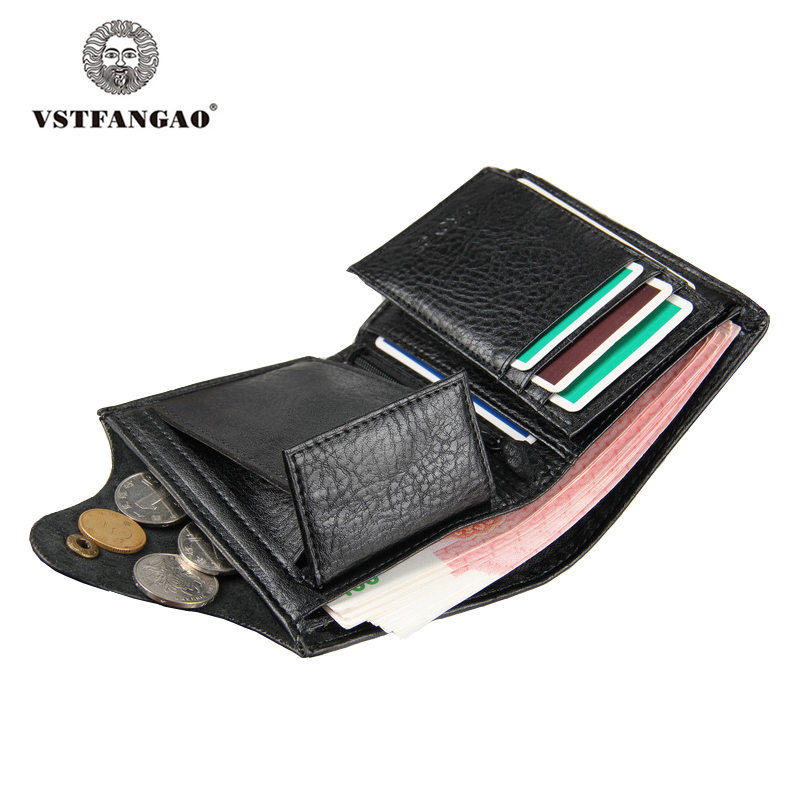 Men's Leather Wallet with Coin Pocket  Black Brown Hasp Genuine Leather Wallets for Men Male Organizer Clutch Purse with Zipper new men brand long zipper wallet leather with zipper 2016 male designer business black brown clutch bag wallets purses pocket