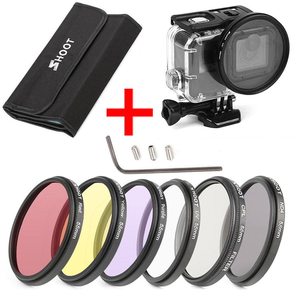 6Pcs 58mm CPL UV ND2 Lens Filter Set with waterproof case and Adapter Ring Cap for action sport camera Hero 5/6/7