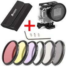 6Pcs 58mm CPL UV ND2 Lens Filter Set with waterproof case and Adapter Ring Cap for action sport camera Hero 5/6/7 52mm uv cpl filter for go pro hero 5 adapter ring glasses uv cpl lens protective cap for gopro hero 5 action camera accessories