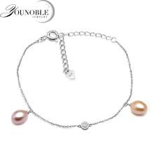 Fashion 925 sterling silver anklet bracelet for women,genuine freshwater pearl bead feet anklet
