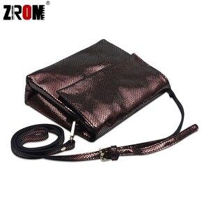 Image 3 - ZROM marque de luxe en cuir véritable brillant Serpentine or argent Crossbody réel doux en cuir de vache sacs à main dame Messenger sacs