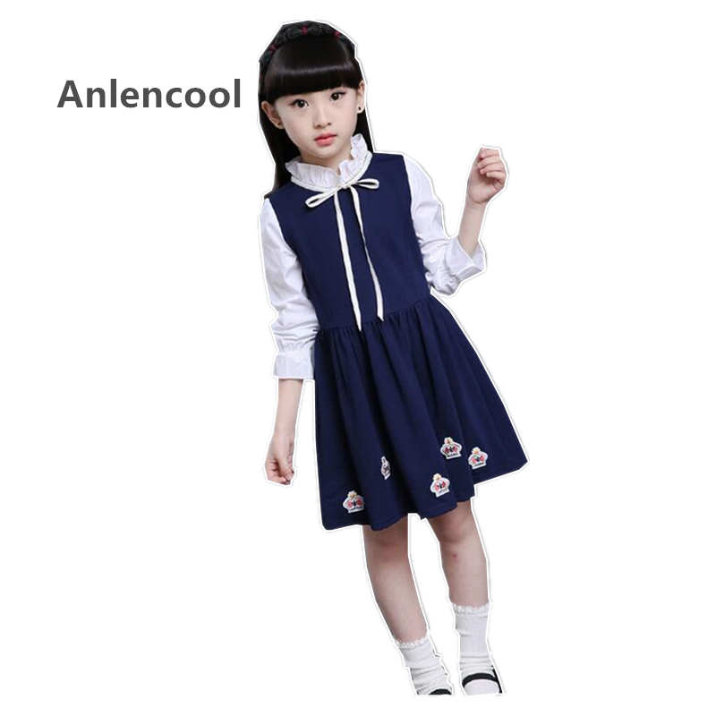 Anlencool/Детское платье из Новинка 2017 девочек в осенние и зимние платье Детская одежда корона украшения Модные детское платье