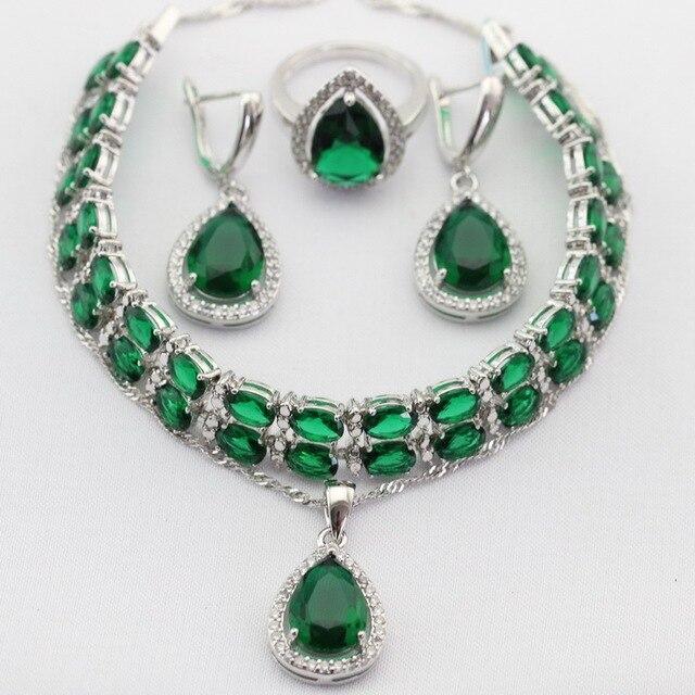 Favoloso Goccia d'acqua Verde Creato Smeraldo Parure di Gioielli da Donna  IT61