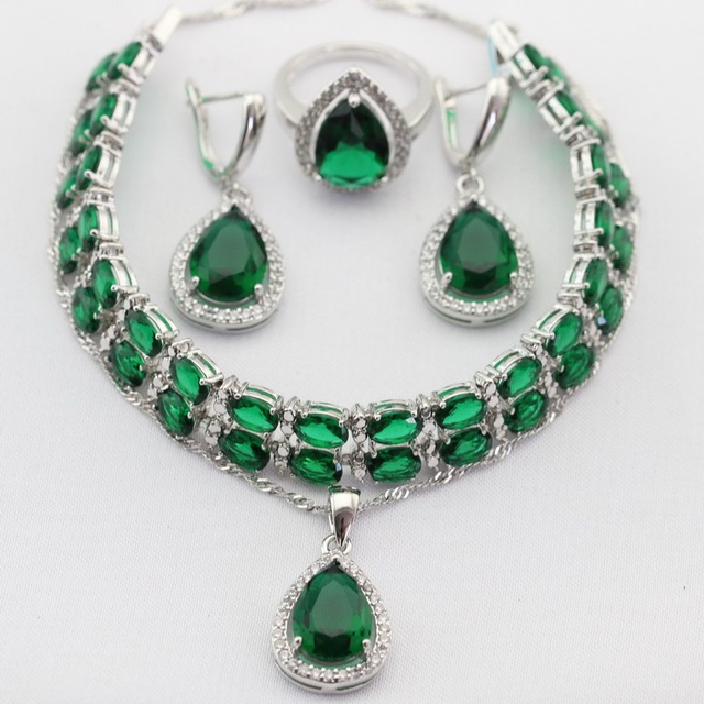 Water Drop Green Created Emerald Silver Color Jewelry Sets Women Necklace Pendant Drop Earrings Rings  Bracelet Christmas Gifts