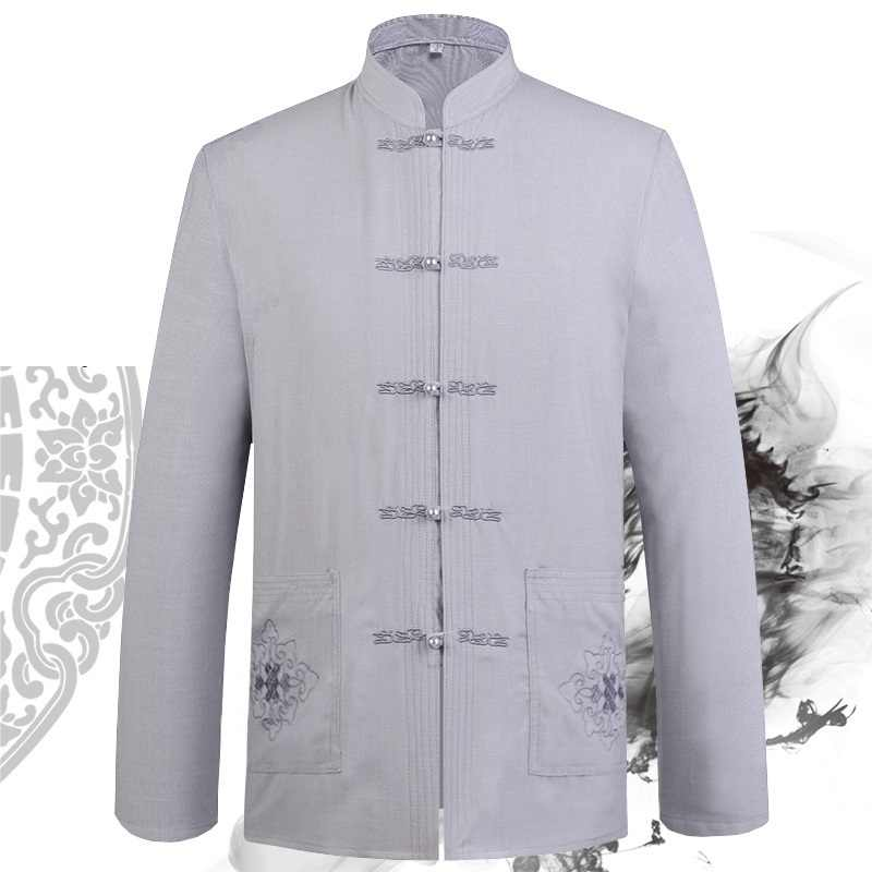 Człowieka wiosenne jesienne z długim rękawem z długim rękawem koszula czarny niebieski biały beż szary 5 kolory Wing Chun Kung Fu Tai Chi sztuki walki odzież