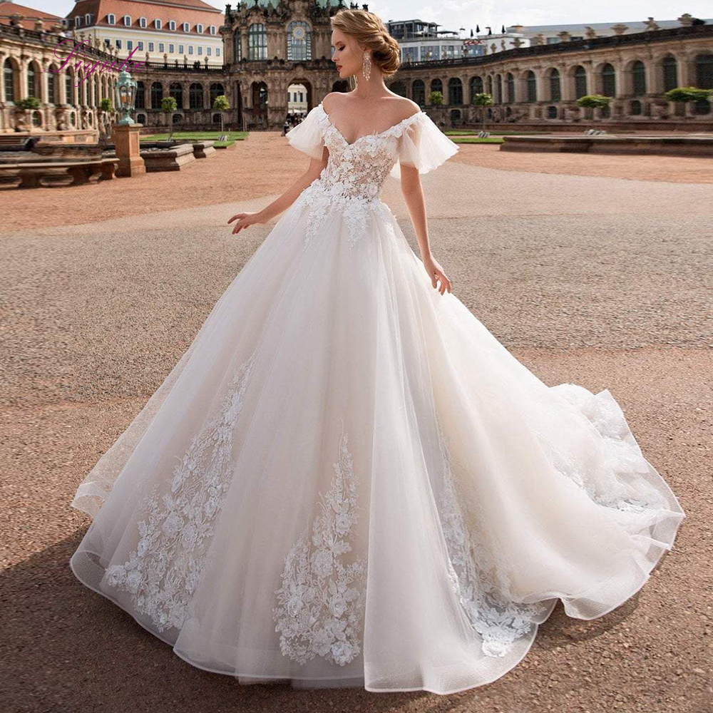 Liyuke Sweetheart Ball Gown Wedding Dress Lace Up Appliques Off-the-shoulder Flare Sleeves For Elegant Bridal Gown Chapel Train