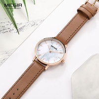 MEGIR Leather Strap Quartz Watches for Women Simple Analogue Ultra Thin Wristwatch for Lady Relogios Femininos Clock 4204 Brown