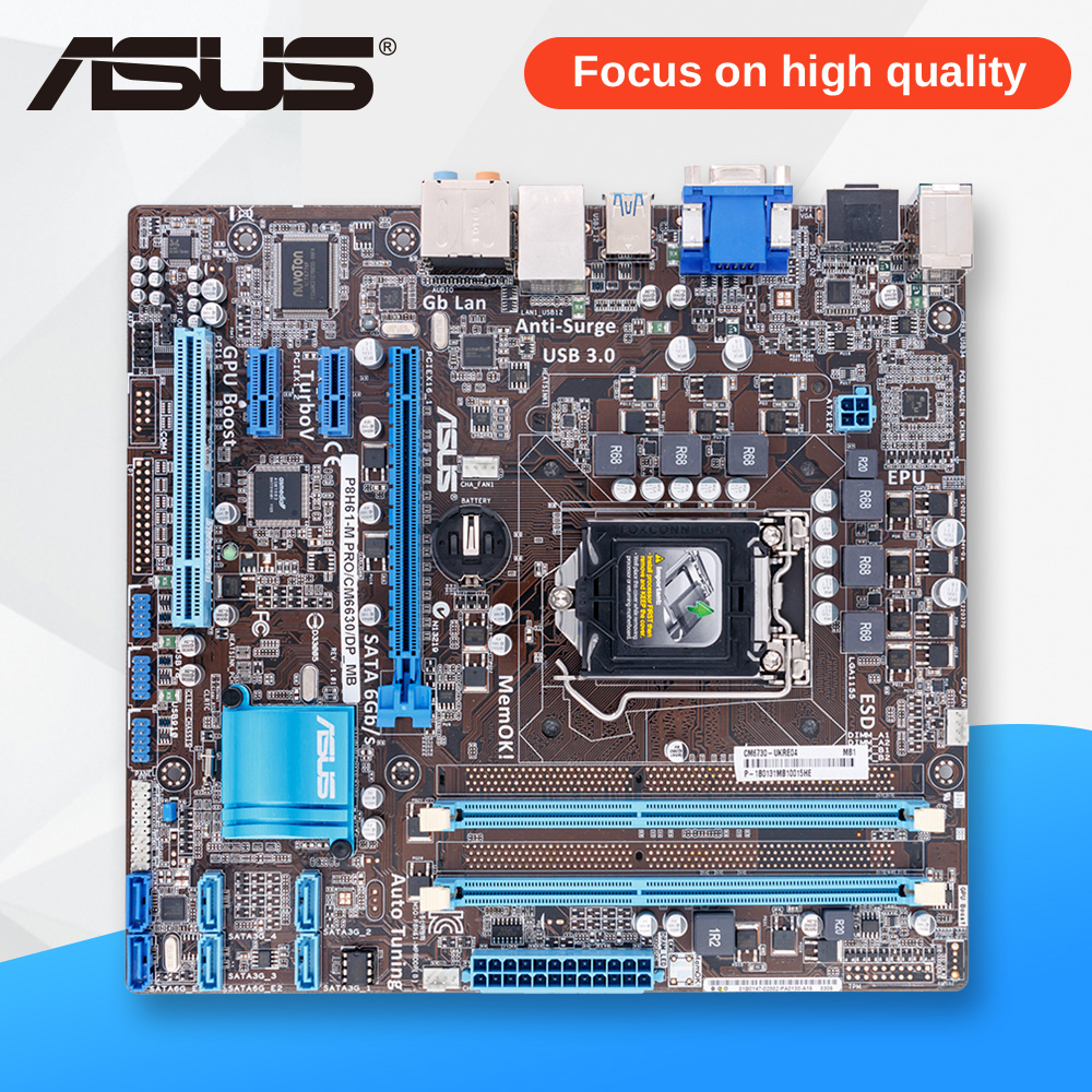 Asus P8H61-M PRO/CM6630/DP Desktop Motherboard H61 Socket LGA 1155 i3 i5 i7 DDR3 16G uATX asus p8h61 plus desktop motherboard h61 socket lga 1155 i3 i5 i7 ddr3 16g uatx uefi bios original used mainboard on sale