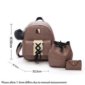Image 5 - 3 sztuk/zestaw kobiety zestaw z plecakiem pu skóra kobieta moda plecak na co dzień + torebka wiadro + torebka plecak torby dla nastolatków dziewczyny 48