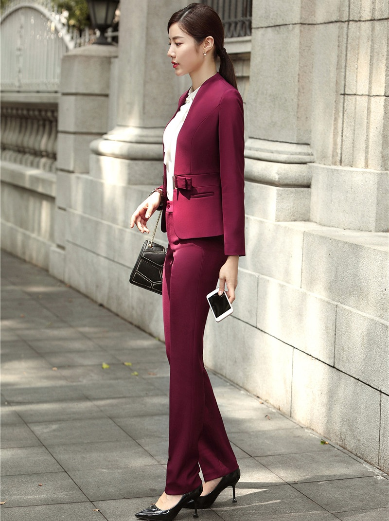 Fashion Wine Formal Uniforms Designs Professional Pantsuits With Jackets And Pants For Ladies Office Work Wear Blazers Sets 23