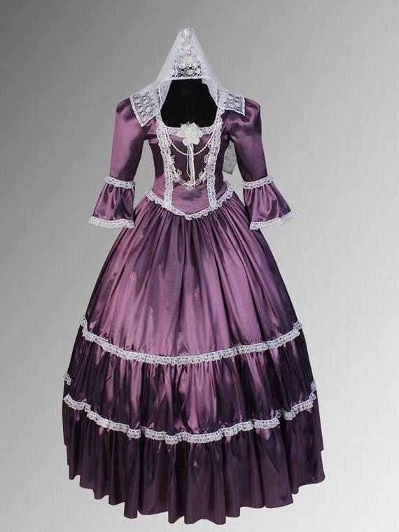 Robe en taffetas de dentelle de Style Renaissance ou victorien avec collier ras du cou plusieurs couleurs disponibles