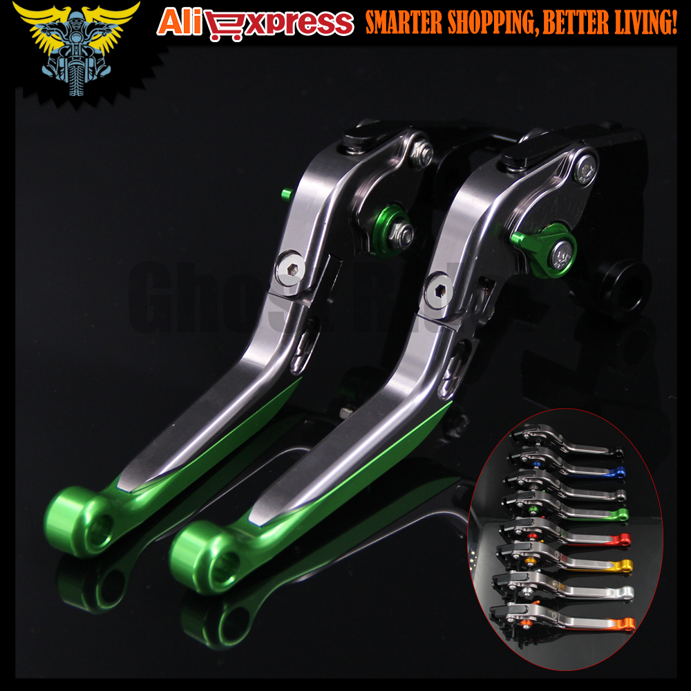 Green+Titanium CNC Adjustable Folding Extendable Motorcycle Brake Clutch Levers For Kawasaki Z800/E version 2013 2014 2015 2016
