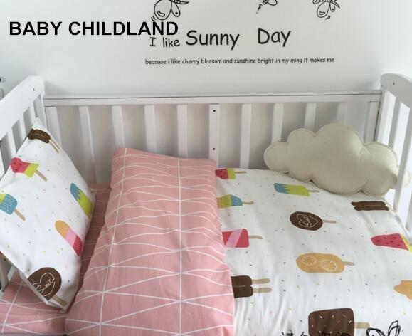 baby bedding set 3 pcs/set bedding sheet+pillowcase+duvet cover baby crib bedding set 100% cotton cartoon soft baby bed set