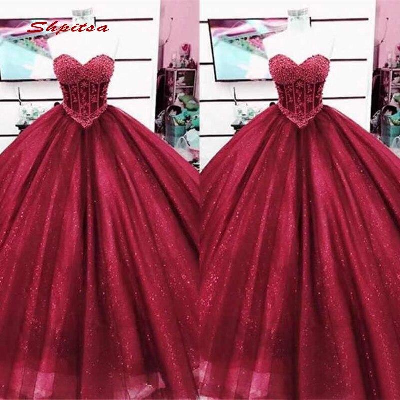2baf7e6af34 Borgoña de Quinceanera vestidos de baile de Debutante 16 15 dulce 16 vestido