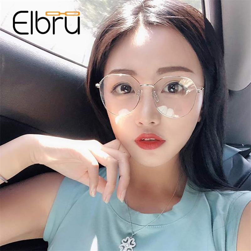 Elbru New Finished Myopia Glasses Women Retro Metal Myopic Eyewear Men Optical Glasses With -0.75 1 1.25 1.5 1.75 2 2.5 3 3.5..