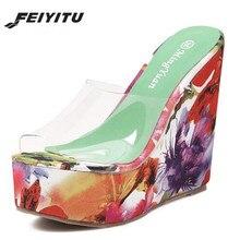 FeiYiTu Summer Women Thick-soled high-heeled Slippers Transparent Crystal Shoes Waterproof Platform 13CM Wedge Open Toe Shoes цена в Москве и Питере