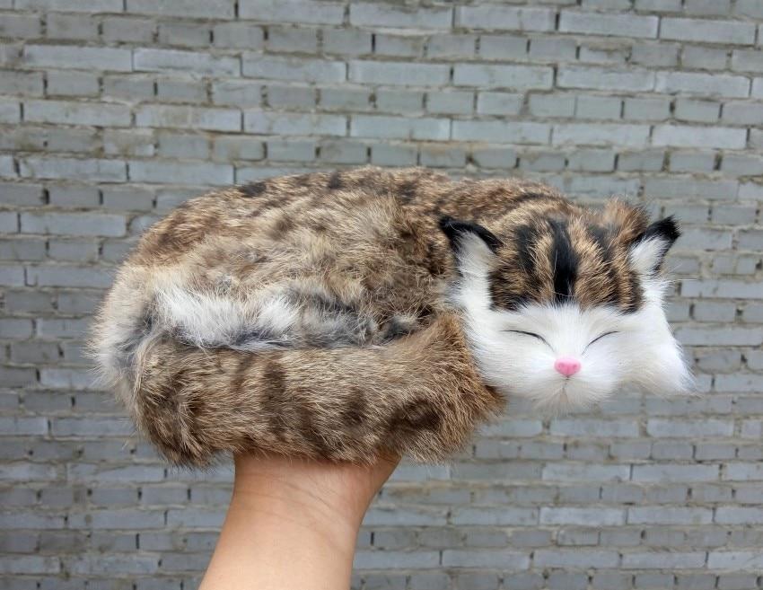 large 27x21cm sleeping cat hard model toy,polyethylene&furs handmade craft,prop.home decoration,Xmas gift 1759 large 27x20cm simulation sleeping cat model lifelike white prone cat model decoration t189