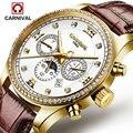 Роскошные часы Carnival Moon Phase  мужские водонепроницаемые часы из нержавеющей стали с сапфиром и серебристым циферблатом