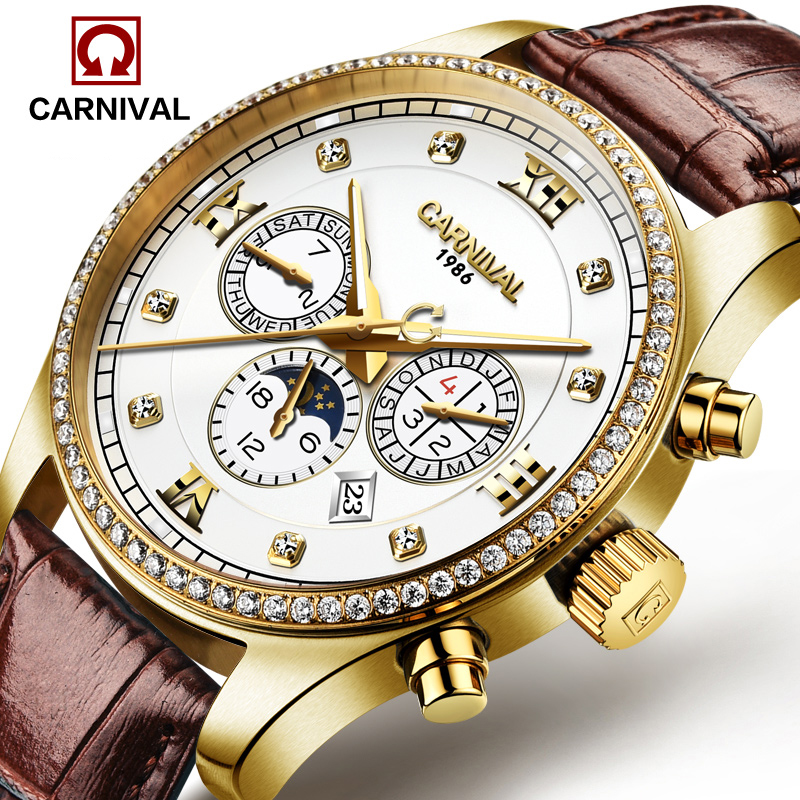 Luxury Carnival Moon Phase Waterproof watch men Sapphire silver Stainless Steel Date Automatic machine watch relogio masculino luxury moon phase watch men sapphire glass stainless steel waterproof automatic machine date watch relogio masculine