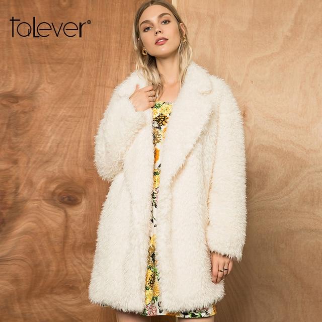 2018 Autumn Women's Fleece Coat Fashion Mid-Long Jacket Lady Winter Warm Overcoats Female Turn-down Collar Pockets Coats Talever