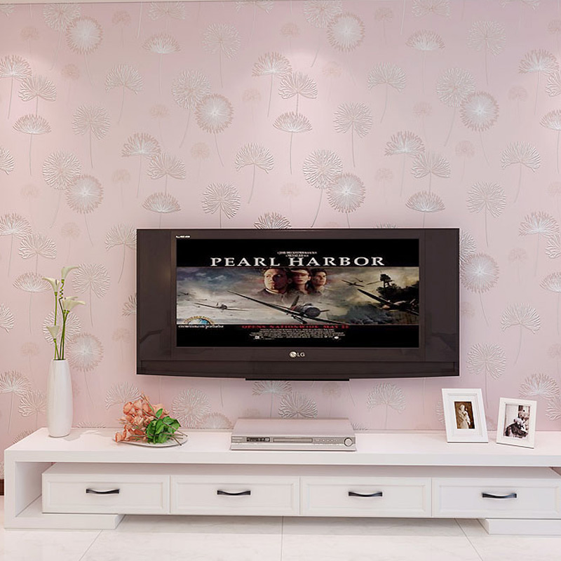 3D Wallpaper Romantic Pink Dandelion Wood Fiber Non-Woven Flocking Photo Wall Papers Living Room Bedroom Papel De Parede 3D Sala black dandelion wall sticker wallpaper page 3