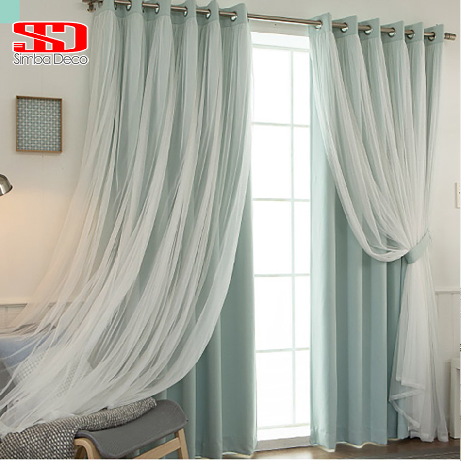 Cafe curtains for bedroom - Korean Lace Voile Cloth Curtains Set For Children Baby Living Room Grey Ready Blackout Drapes Window Tulle Shading 90 Bedroom