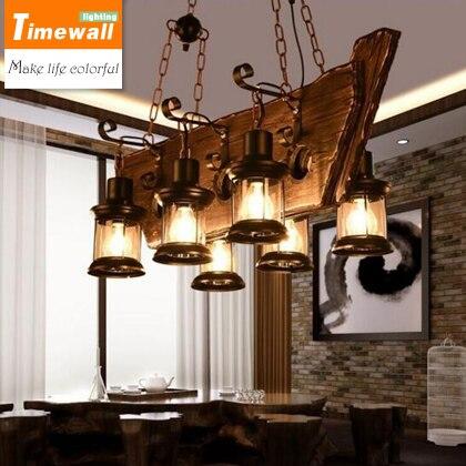 Loft retro bar industrial viento país lámpara de madera maciza personalidad madera viejo barco lámpara de madera