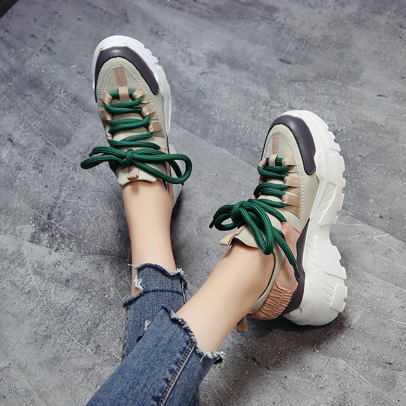 Newest Designer Sneakers Women Stylish Thick Sole Running Shoes Height Increasing 8 CM Chunky Sport Shoes Woman Chaussures Femme