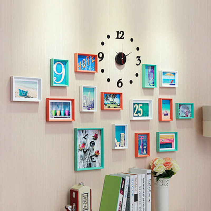 15 pcs Picture frame wall composite wood photo frame living room photo wall wall sicker wedding room Home decore 2016001M